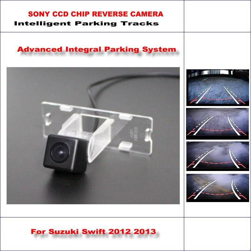 Aparcamiento inteligente huellas cámara trasera para Suzuki Swift 2012 de 2013 de marcha atrás de copia/NTSC RCA AUX HD SONY CCD 580 líneas de TV