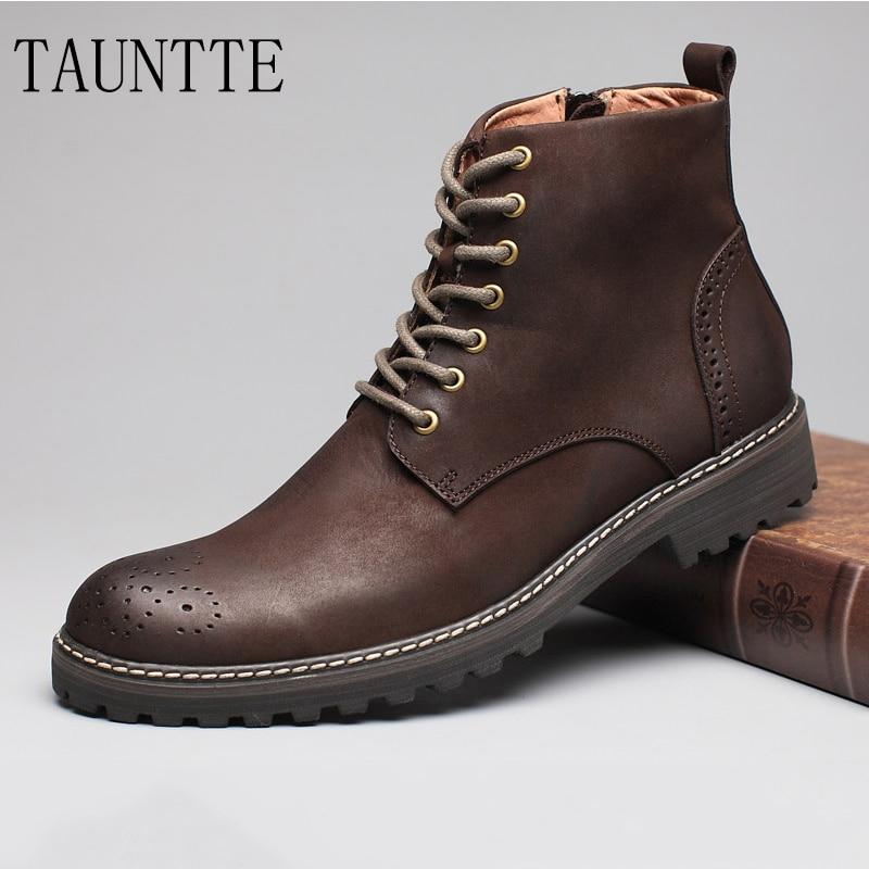 Tauntte-أحذية جلدية للرجال لفصل الشتاء ، أحذية منحوت من جلد البقر بنمط ريترو مع زهرة مارتن