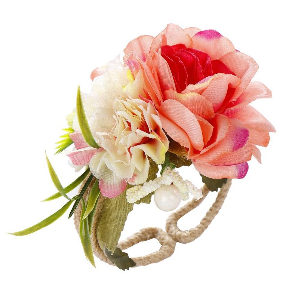Hecho a mano tejido de apertura Flor de muñeca de novia, ramillete de novia brazalete de flor elástico pulsera de fiesta de boda a mano de flores