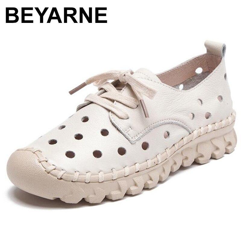 BEYARNE جلد طبيعي أحذية خفيفة أرضية حريمي النساء الإناث حذاء كاجوال المرأة الشقق أحذية الانزلاق على جلد تنفس zapatos mujer