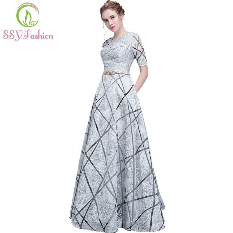 SSYFashion-فستان حفلة موسيقية بسيط ، جديد ، أنيق ، رمادي ، أكمام قصيرة ، طول الأرض ، فستان سهرة ، فساتين رسمية مخصصة