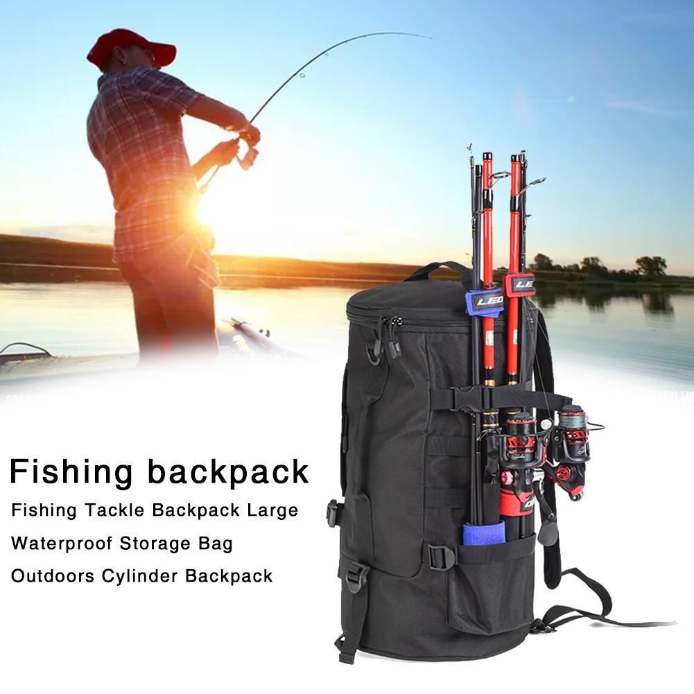 23L Large Fishing Tackle Bag Waterproof Nylon Fishing Bag Box Fly Reel Rods Carp Backpacks Tool Outdoor Camping Hiking Huntting