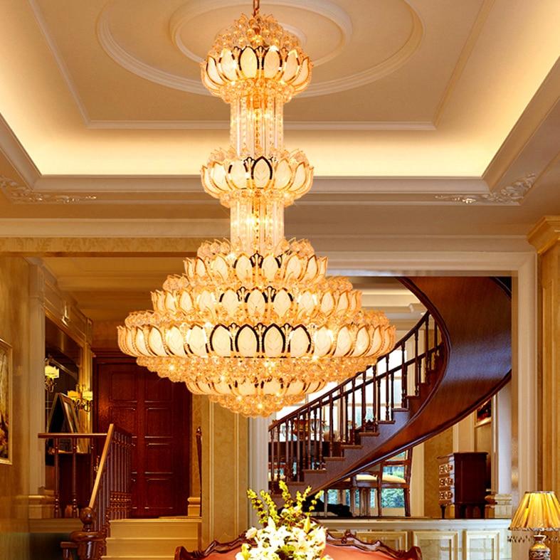 ثريا كريستال LED ، مصباح داخلي كبير ، مصباح لوتس ، مصباح داخلي ، مصباح داخلي ، ضوء سقف مزخرف ، تصميم داخلي ، مثالي لردهة الفندق أو الفيلا.