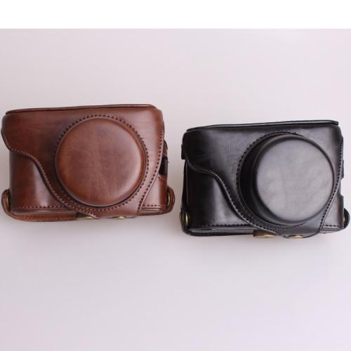 Bolso de cámara Retro Fuji X100F, negro/Café, funda de PU, correa de...