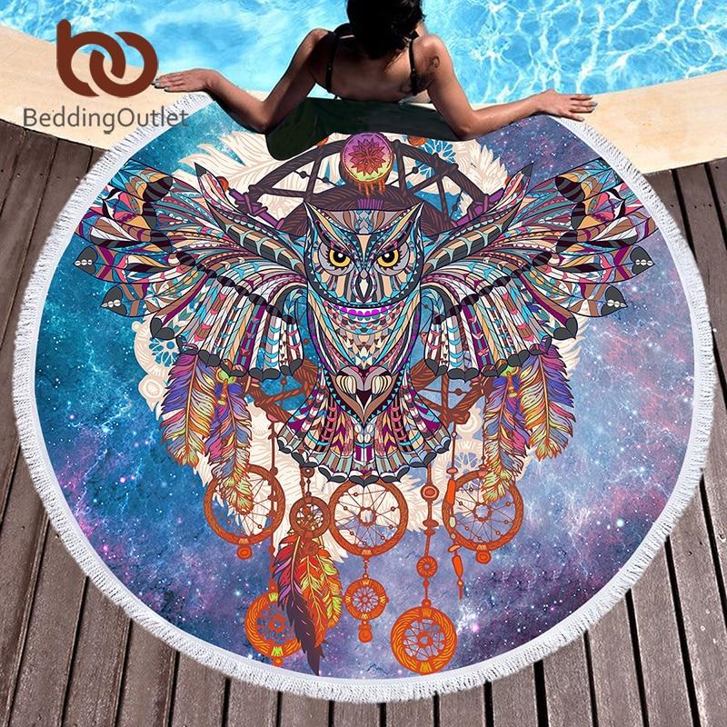 Постельное белье на выход большое круглое пляжное полотенце с кисточками для детей гобелены для взрослых фиолетовое полотенце из микрофибры с совой 150 см одеяло коврик для йоги