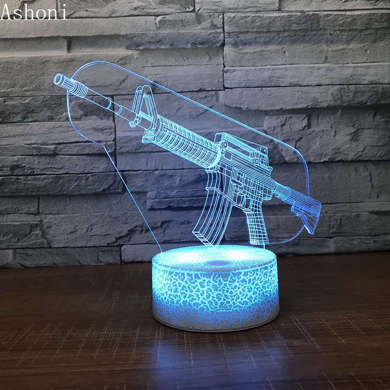 3d lamp fortnite game chug jug scar rocket launcher gliding led night light 7 color change touch mood lamp Counter-Strike CS Game Acrylic M4 A1 Gun 3D Night Light Led Lamp Led Touch Sensor 7 Color Changing Table Lamp Kids Gifts