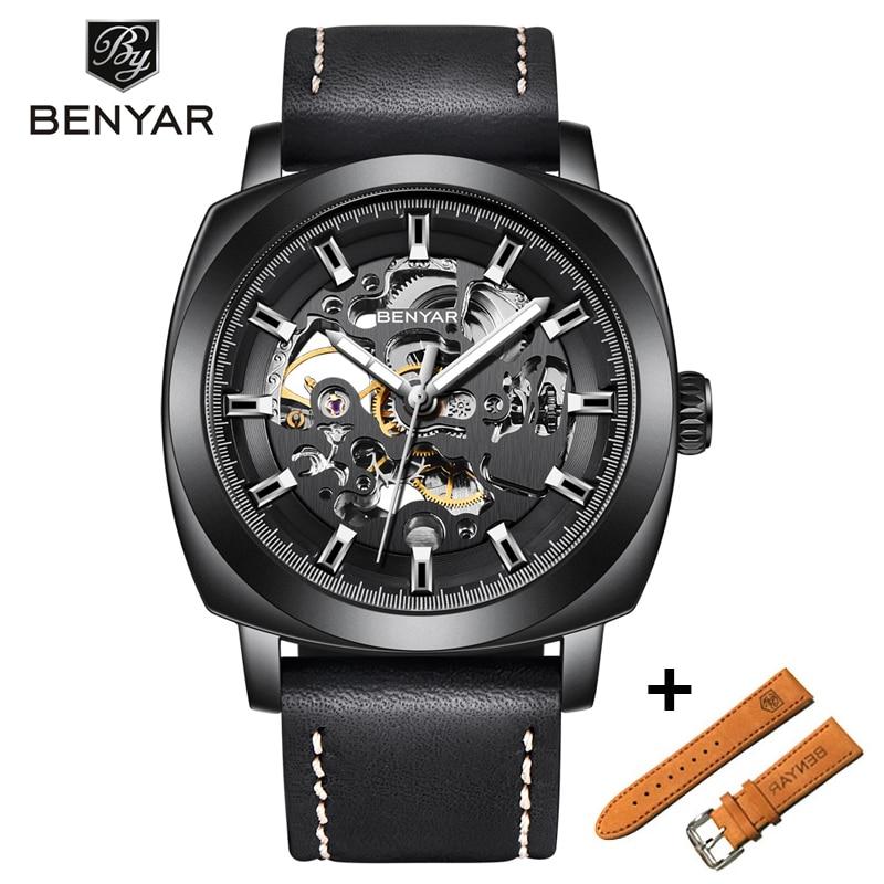 BENYAR-مجموعة ساعات ميكانيكية للرجال ، ساعة يد رجالية ، كلاسيكية ، فاخرة ، أوتوماتيكية ، رياضية