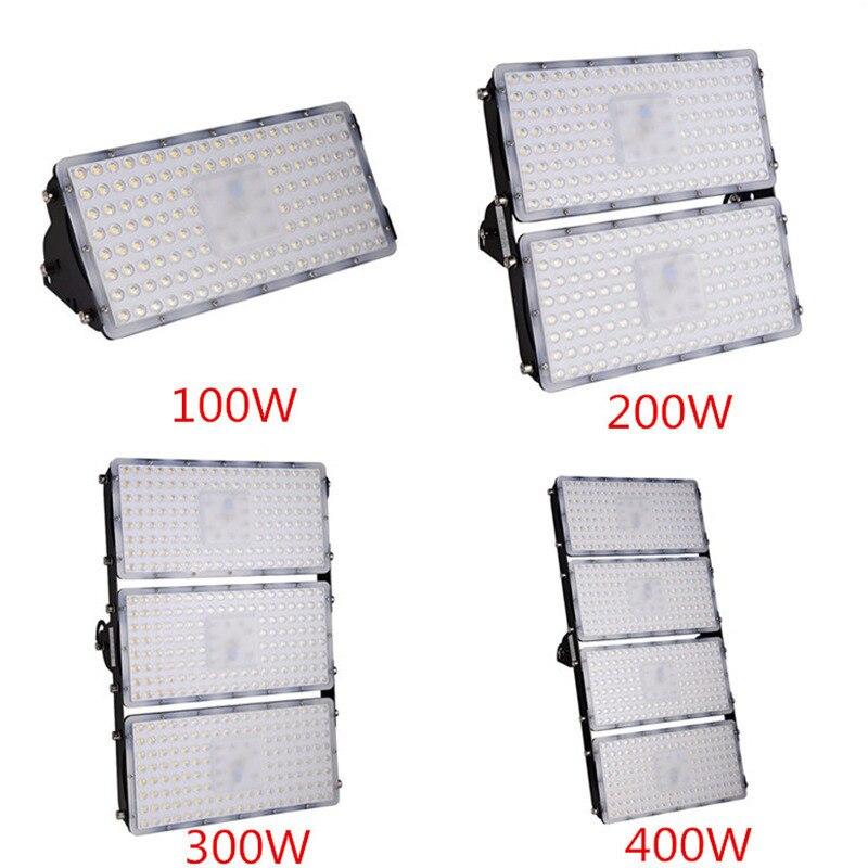 Módulo de 2 uds. Luz LED de inundación 100W 200W 300W 400W 110V 220V SMD 2835 impermeable LED exterior iluminación jardín farola reflector