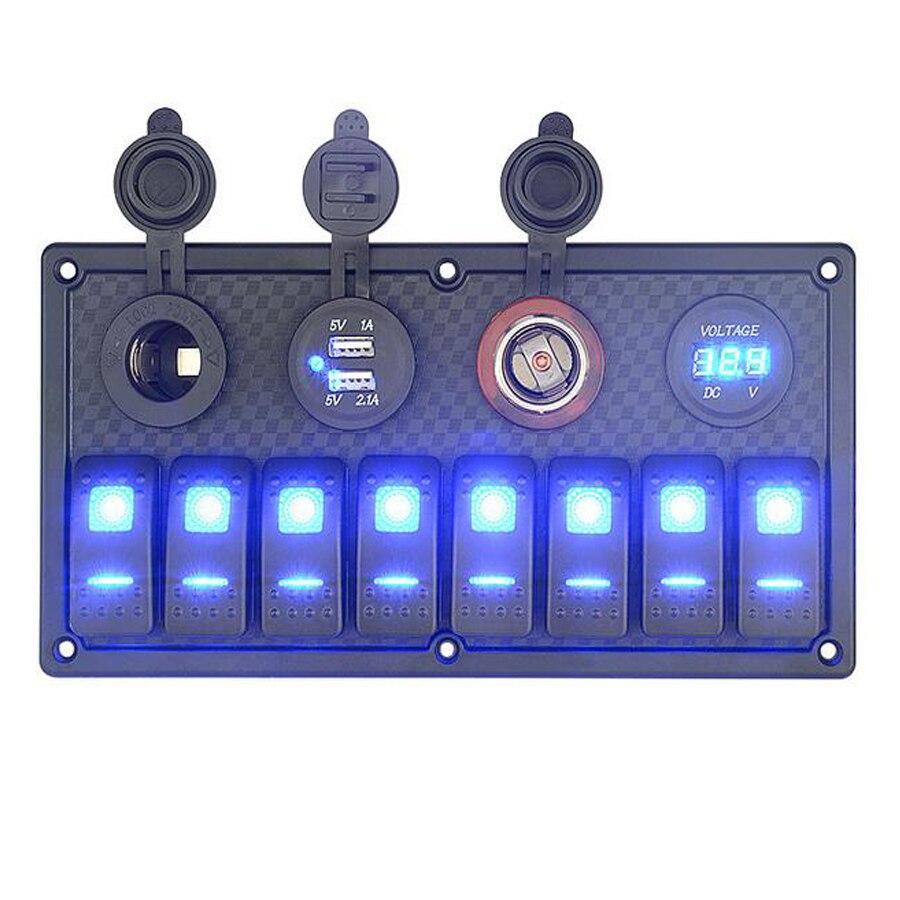 Panel de interruptor basculante LED resistente al agua 8 Gang con cargador USB Dual de 3.1A enchufe para encendedor de cigarrillos con interruptor de voltímetro