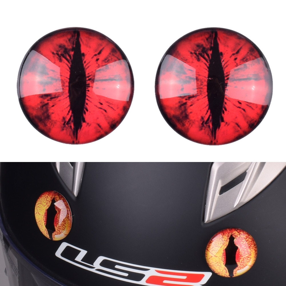 Eine Paif Dekorative Teufel Augen für Motorrad Motocross Helm Capacetes Dämon Katze Monster Auge Casco Casque Moto