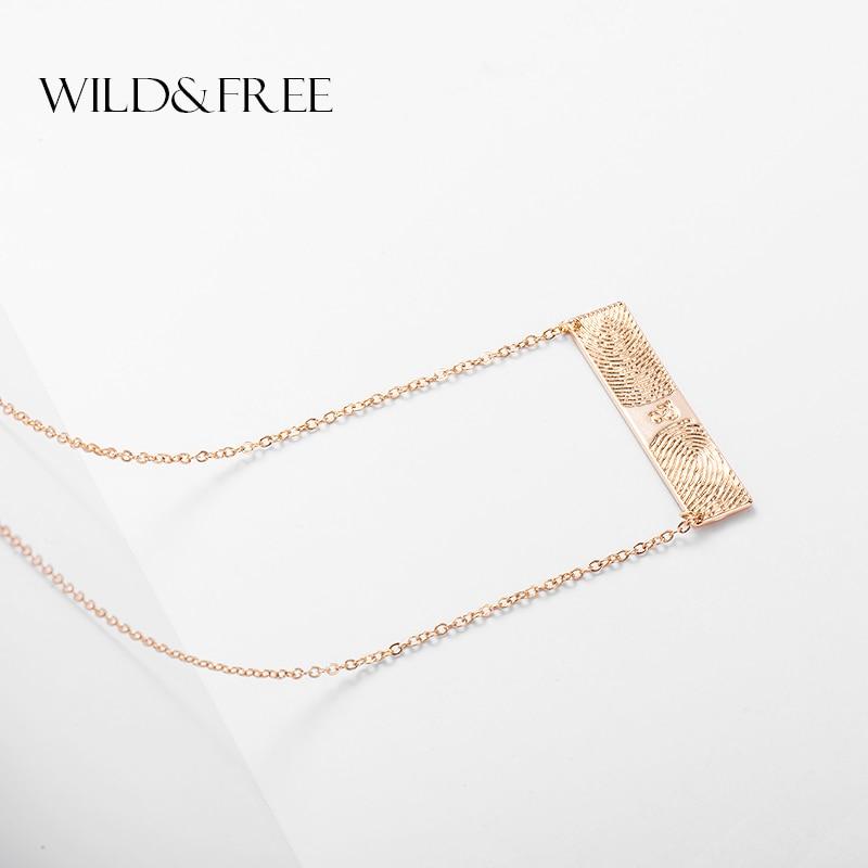 Collar largo rectangular de oro para mujeres salvajes y libres collar simple con colgante estilo amantes de las huellas dactilares collares de nombre de huellas dactilares reales