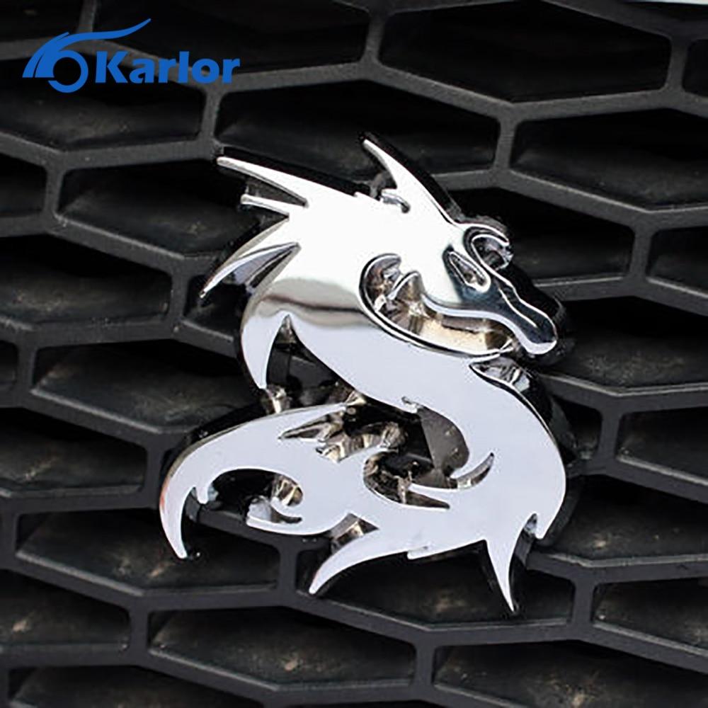 Dragão Loong 100% 3D Metal Car Auto Grille Grill Emblema Etiqueta do Logotipo Do Emblema Totem Prata Ouro Preto DIY NOVA 3 cor Do Carro-Styling