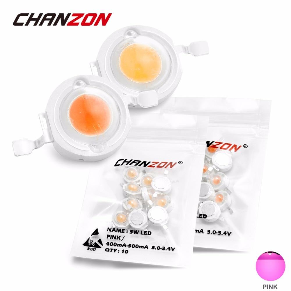 CHANZON 1 Вт 3 Вт Высокая мощность светодиодный чип лампы розовый Epistar 3,0-3,4 в 300мА 500мА для прожектора фонарик