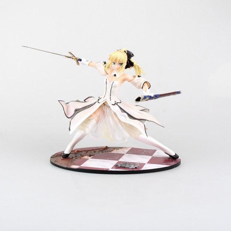 Fate stay night White 21cm figura de anime japonés Saber Lily la espada del oro Victoria PVC MODELO DE figura de acción muñecas Juguetes