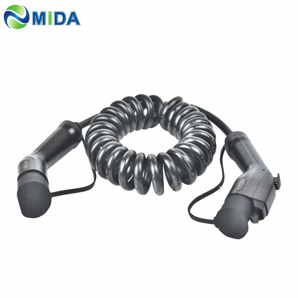 5M 16A 32A SAE J1772 tipo 1, Tipo 2 ev de cable de carga de cargador portátil EV Cable en espiral