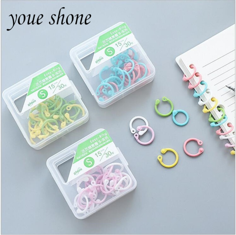Multi-color plastic book rings booklet loose-leaf booklet binding ring  Stationery storage tools S 30PCS/boxes HANDANWEIRAN