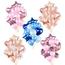 Ballons en feuille étoile 18 pouces 14 pièces/ensemble   Ballons confettis en Latex de 12 pouces, décoration de réception de mariage, fournitures danniversaire pour enfants