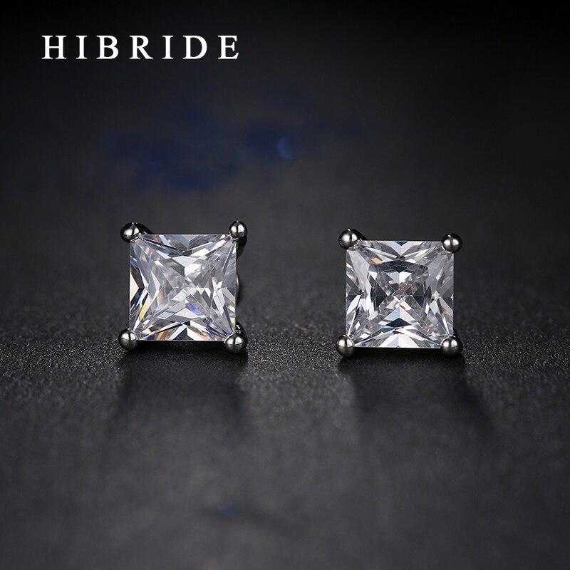 Модные квадратные серьги с цирконием кубической огранки hibrid для мужчин, новые украшения белого золота, серьги, вечерние, подарки, E-78