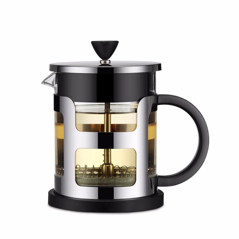 مكبس قهوة فرنسي محمول من الفولاذ المقاوم للصدأ ، إبريق شاي ، موكا مع فلتر مصفاة ، قهوة زجاجية بوروسيليكا للسفر