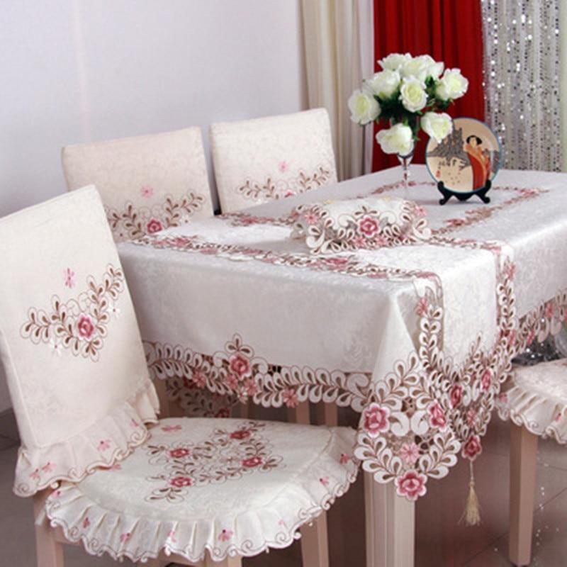 BZ320, mantel de Hotel Floral bordado de poliéster de lujo europeo, hogar, fiesta de boda, borde de encaje, cubierta de mesa decorativa, gran oferta