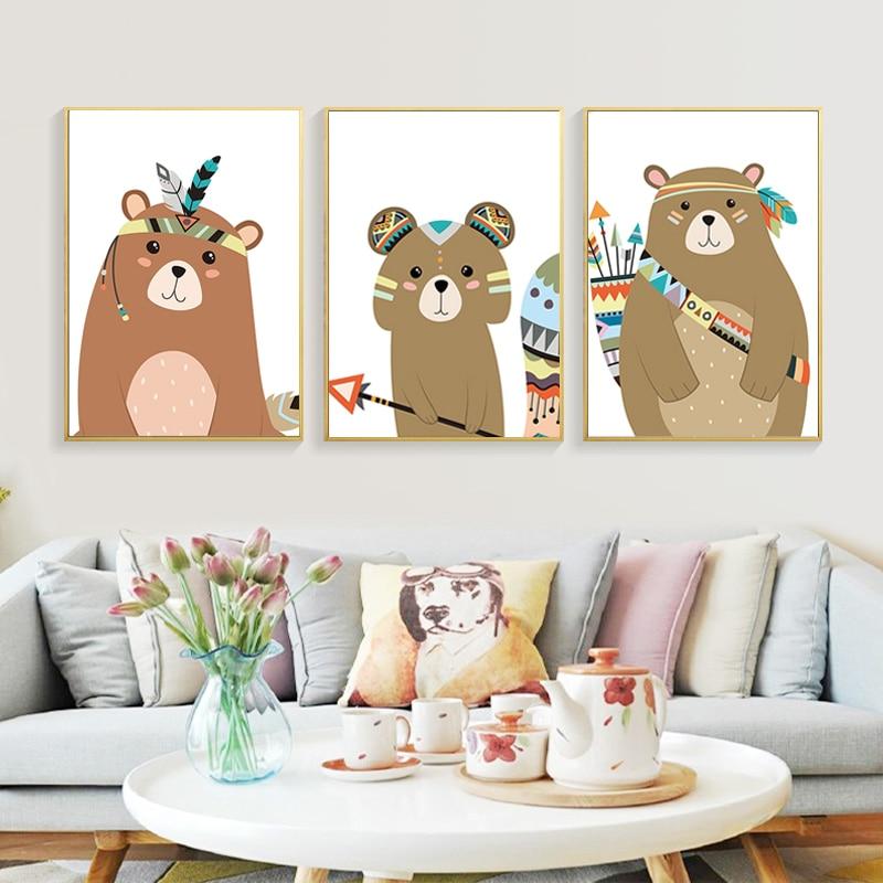 Watercolor Indian Animal Deer Bear Fox Art Canvas Poster Nursery Prints Cartoon Painting Wall Picture Nordic Baby Bedroom Decor
