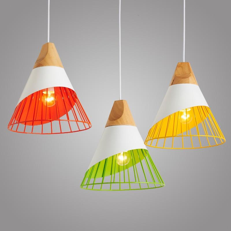 الشمال قلادة أضواء الخشب الألومنيوم عاكس الضوء الإضاءة الصناعية لوفت lamvillage الملونة قلادة مصباح E27 تركيبات إضاءة قاعدة
