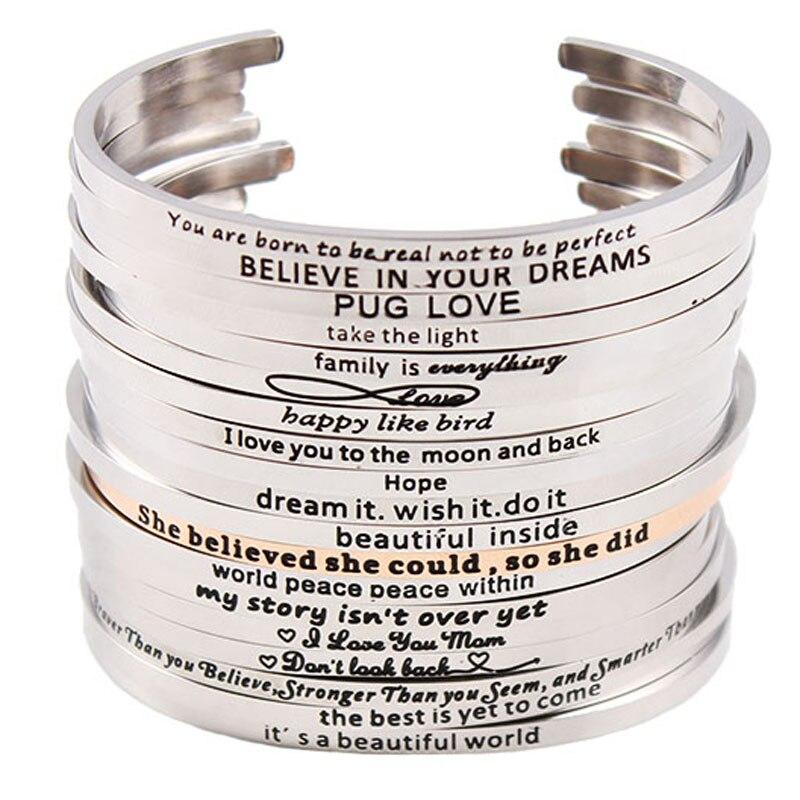 Pulsera de Mantra de acero inoxidable 2017, cita de inspiración positiva, brazalete hecho a mano, brazalete grabado para mujer, el mejor regalo