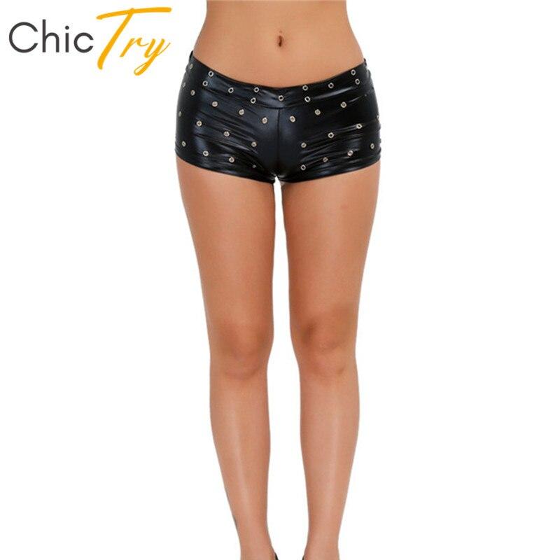 ChicTry mujeres brillantes negro charol Delgado Mini Sexy Shorts para fiesta de discoteca Rave baile en barra pantalones cortos adultos trajes de baile para escenario