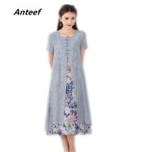 Coton lin grande taille vintage fleurs femmes décontracté en vrac longue été robe de soleil vêtements élégants 2020 dames robes robe dété