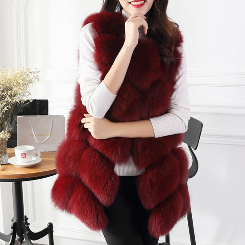 Chaqueta de piel de zorro sintética de invierno, chaleco a la moda para mujer, abrigo cálido, abrigo, abrigo, Parka, sin mangas, de gran tamaño, 2XL, 6XL, 7XL, Q1778