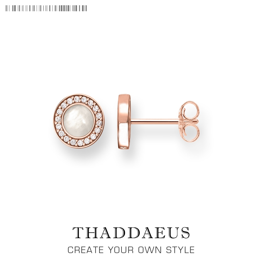 Pendientes de tuerca redondos de oro rosa, joyería de concha de moda estilo Thomas para mujeres, regalo 2018 Ts en plata de ley 925, Super ofertas