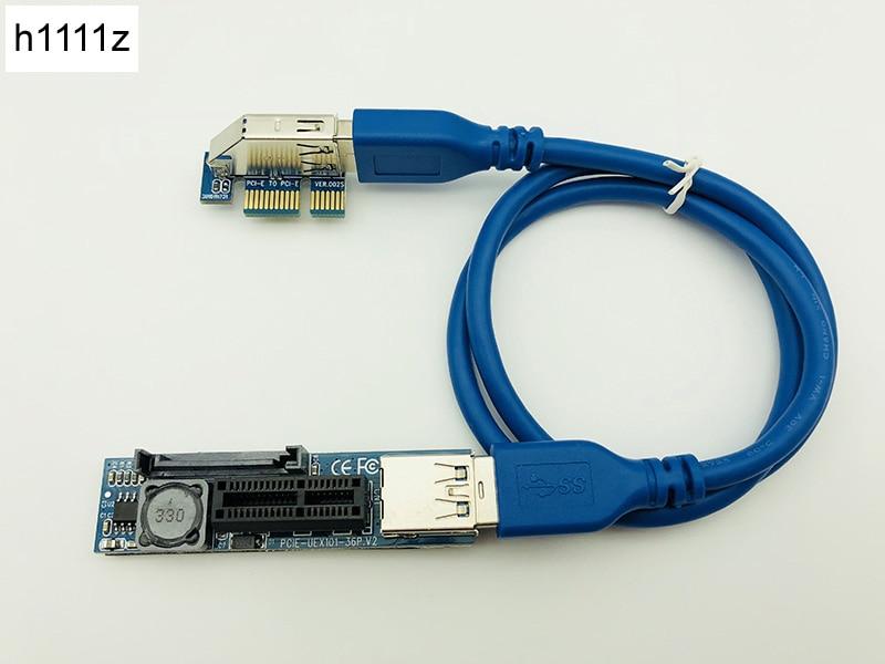 PCI-E удлинитель PCI E 1X к 1X Riser USB 3,0 кабель SATA питание для материнской платы PCI-E x1 слот Биткоин Майнер Antminer Mining