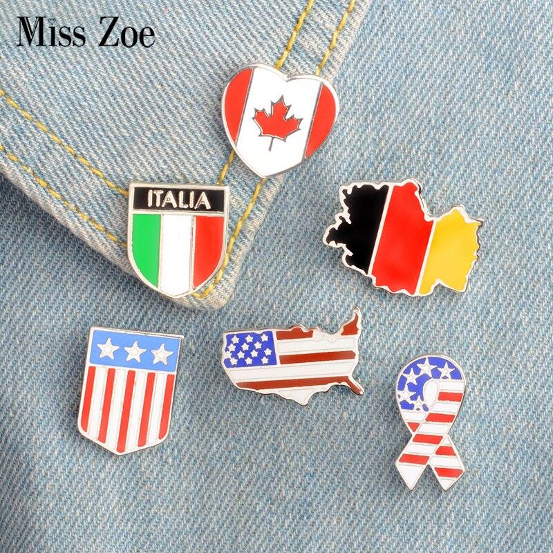 Эмалированные броши в виде звезд и полос, в 6 стилях, Канада, Германия, США, Подарочный значок, кнопка, ювелирное украшение в виде лацкана, одежда, джинсы, кепка, сумка