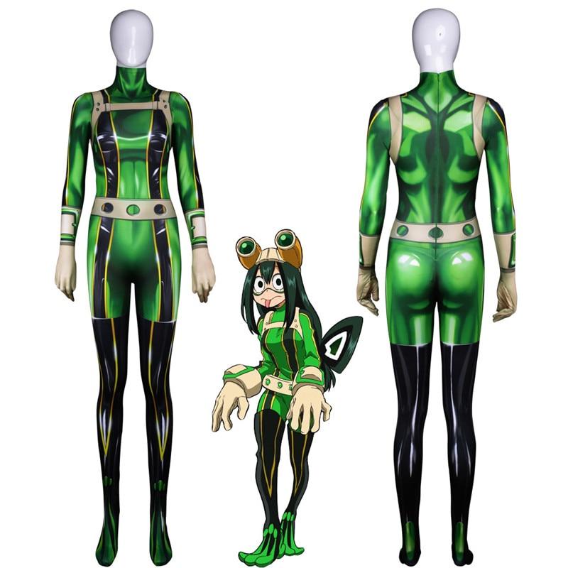 Japón Anime mi héroe Academia medias Cosplay Onesies asui tsuyu Rana Halloween personalizado Anime 3D medias de BOOCRE