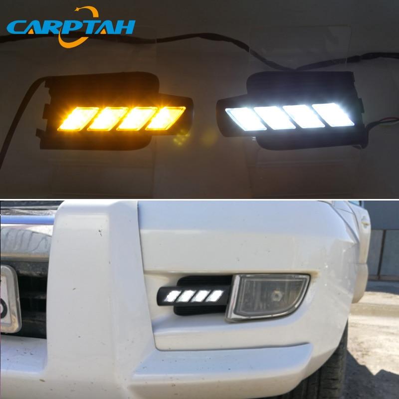LED Daytime Running Light For Toyota Land Cruiser Prado 120 FJ120 Waterproof  Yellow Turn Signal Indicator Light Bumper LED DRL