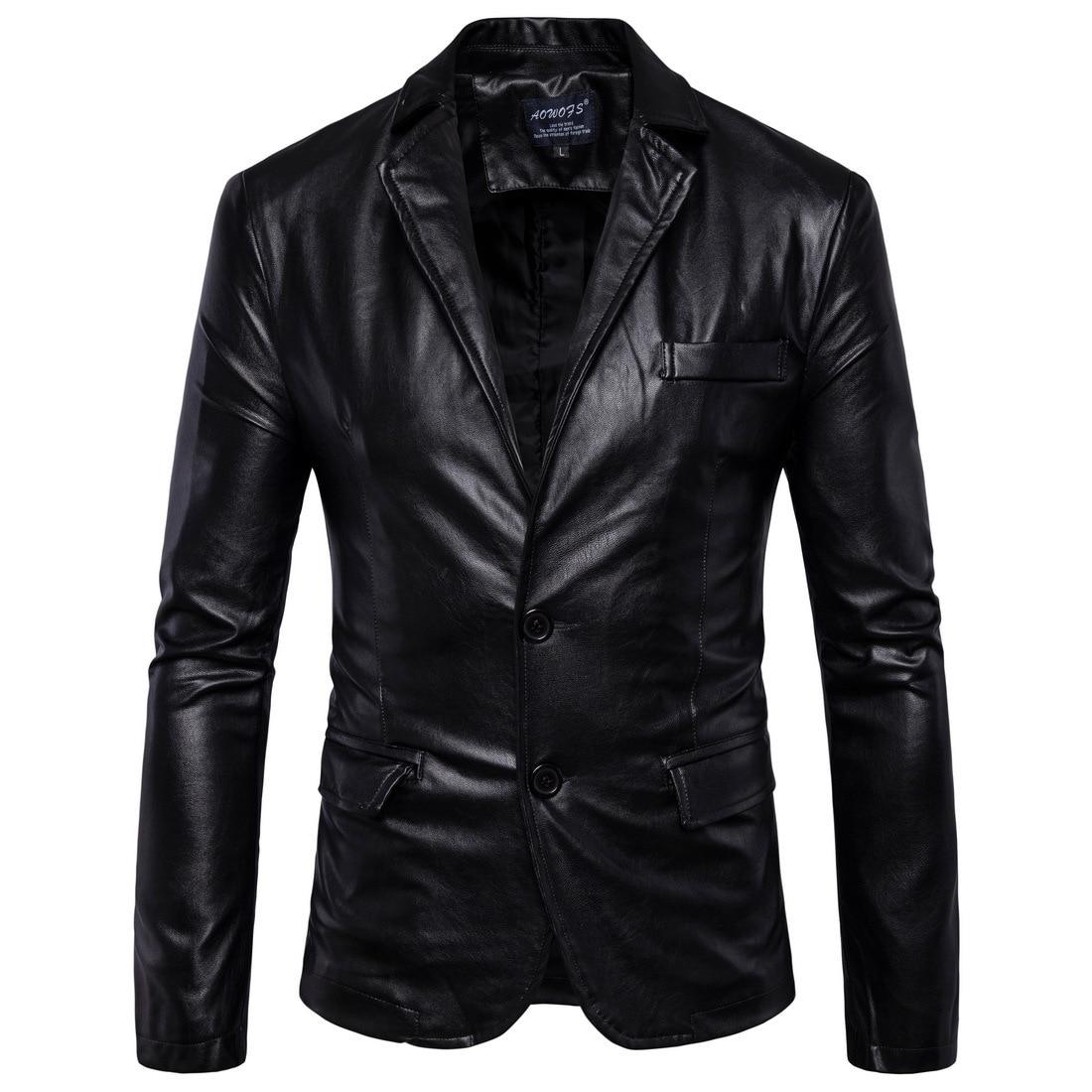 جديد رجل السترات الجلدية 2 زر الرسمي اللباس موضة الرجل الحلل الأسود البني الصلبة دراجة نارية معطف الجلد المدبوغ سترة الذكور