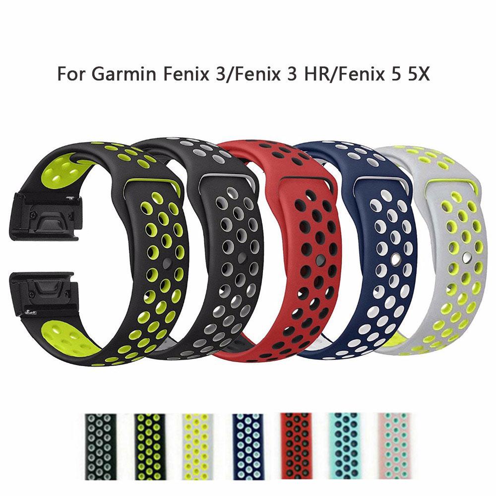 26mm 22mm Soft Silicone Band For Garmin Fenix 3/Fenix 3 HR/Fenix 5 5X Wristband Quickfit Band Bracelet strap Fashon Watch Bands
