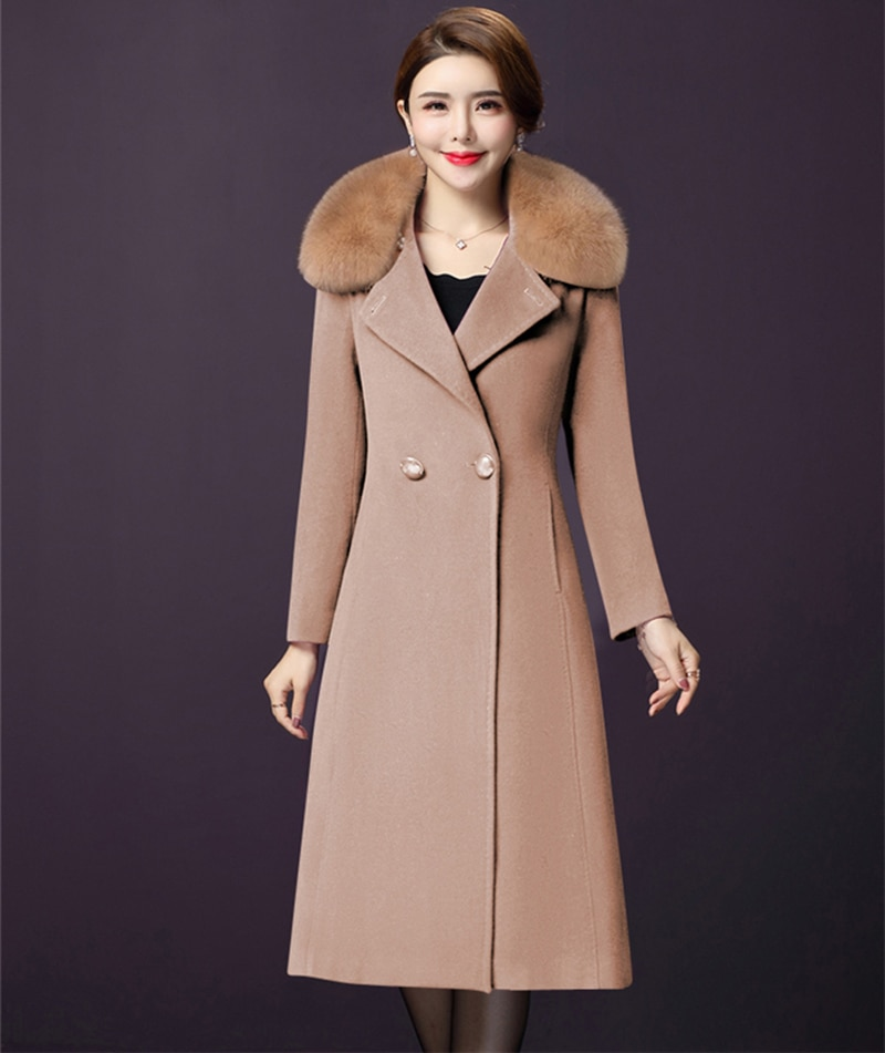 Women Winter Wool Coat Blends Jacket Fur Collar New Fashion Long Woolen Coats Double Breasted Slim Female High Quality Plus