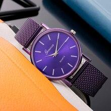 Genève femmes haut marque de luxe montre femme Bracelet acier inoxydable délicat cadran dames robe horloge Relogio Feminino cadeau Q