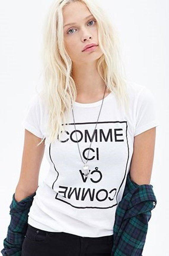 Camiseta Tumblr joven estilo 90 s, camiseta gótica, Comme Ci Comme Ca, moda femenina, algodón, informal, francés, So Pastel, estética Grunge
