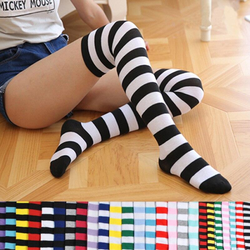 Moda Popular Color caramelo raya larga medias Sexy Kawaii mujeres sobre hasta la rodilla calcetines chicas mujer Lolita novia medias