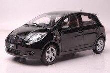 118 diecast modelo para toyota yaris 2008, carro de brinquedo em liga preta, miniatura, coleção, presentes