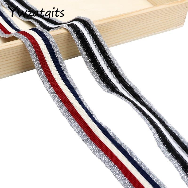 Cintas elásticas de rayas de 25mm de 5 yardas, cinta elástica de borde plateado, lazos para el cabello DIY, accesorios para el cabello YP0806