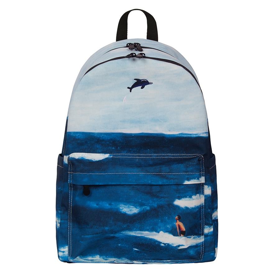 2019 casual large capacity school bags students backpacks of upgraded version of scenery backpack 1(FUN KIK store)