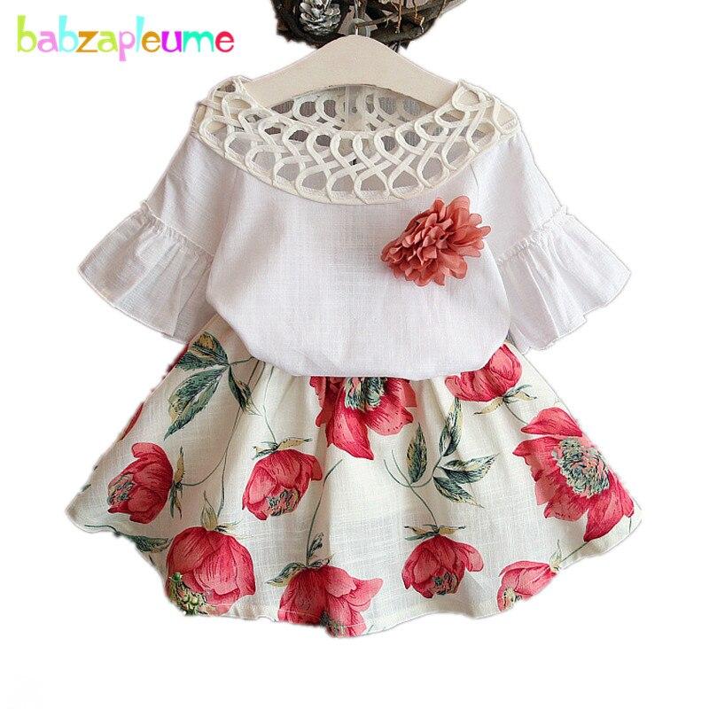 Meninas do bebê Roupas de Moda Oco Flor Roupa das Crianças Impresso Meninas Saia Senhora terno roupa infantil 2 pcs Menina Moda Infantil A248