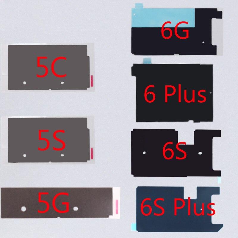 10 unids/lote Lcd de Metal Placa de radiación pegatina para iPhone 5 5G 5C 5S 6 6 S 4,7 pulgadas 6 6 reparación de calcomanías de disipador de calor S Plus 5,5 pulgadas