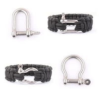 10 pcslot stainless steel adjustable paracord parachute cord lanyard bracelet shackles buckles