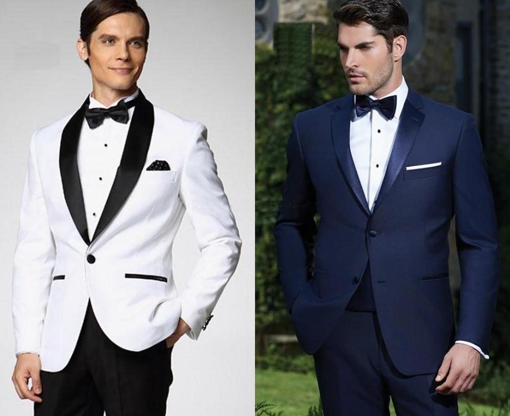 Top Selling White With Black Satin Lapel Groom Tuxedos More Style Choose Groomsmen Men Wedding Suits (Jacket+Pants+Bow Tie+Handk