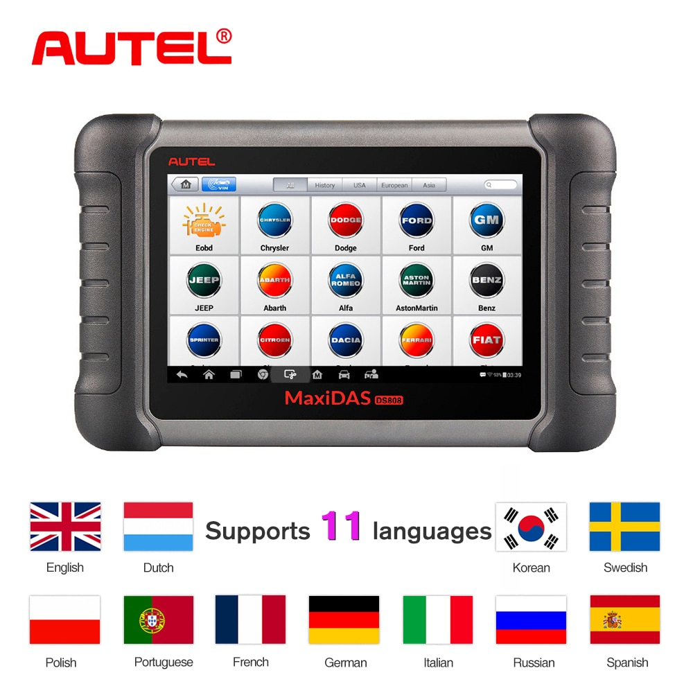 Autel MaxiDAS DS808K OBD2 Scanner Car Diagnostic Tool Key Programmer Full System with OBD adapters Better than launch x431