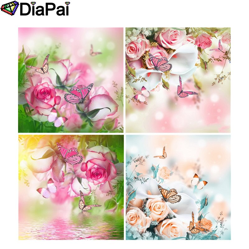 "DIAPAI diamante pintura 5D DIY completo cuadrado/redondo taladro ""Flor Mariposa"" 3D bordado punto de cruz 5D decoración regalo"